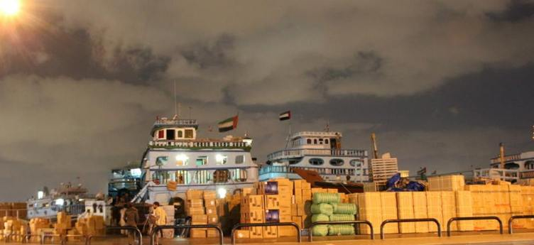Cargo dhows on Dubai Creek dock
